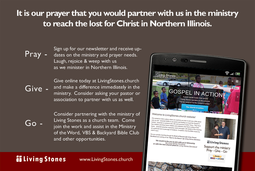 Support the ministry of Living Stones and your personal missionary to Northern Illinois